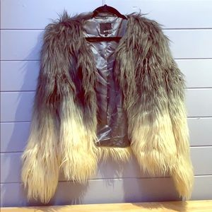 Grey/White Ombré faux fur jacket, size 14